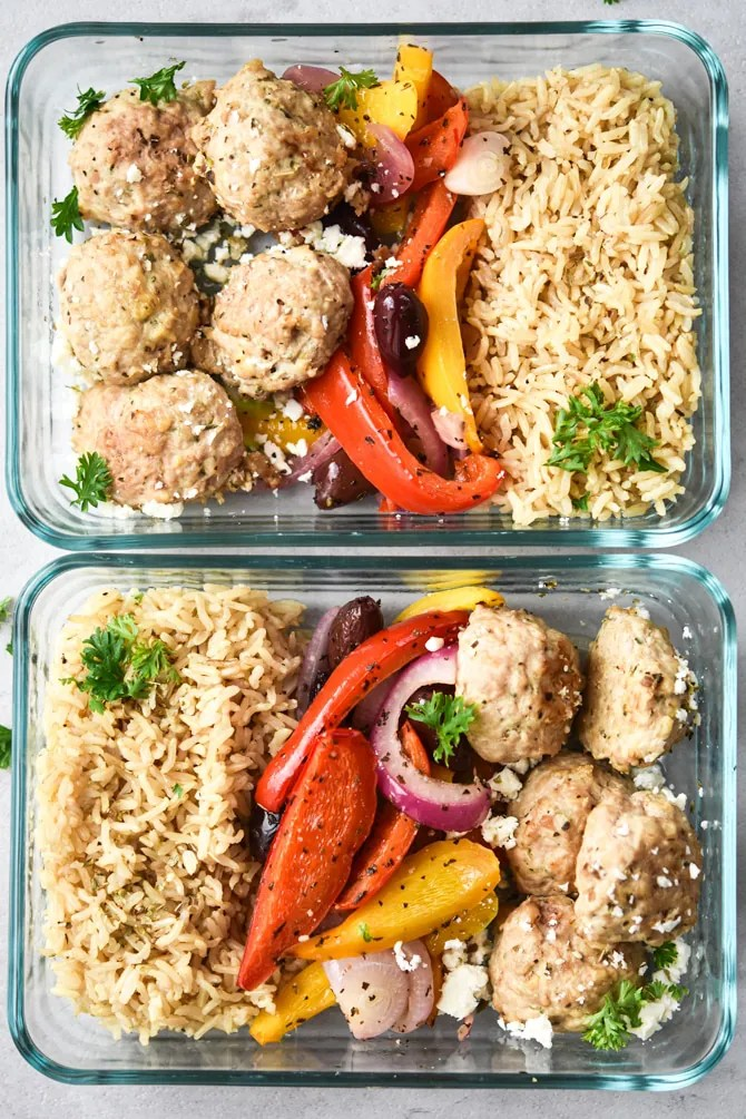 Greek Meatball meal prep in 2 containers finished