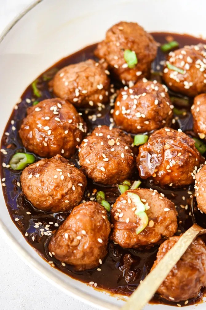 Korean meatballs in skillet with sauce