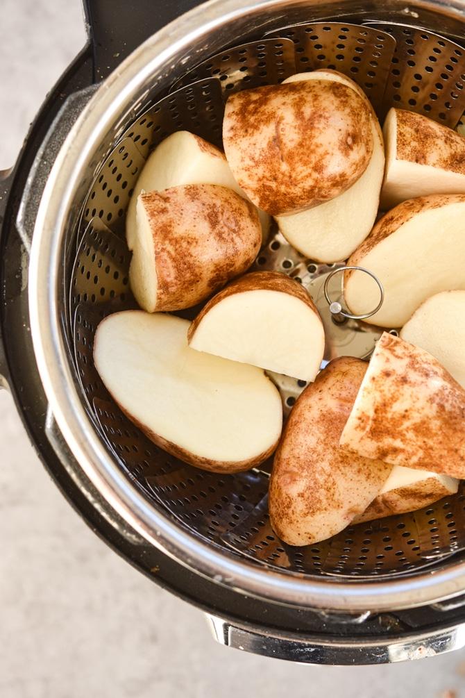 mushroom pork roast potatoes on trivet