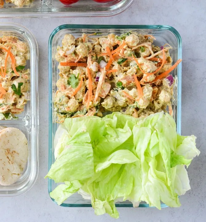 Curried Chickpea Salad meal prep with lettuce wraps