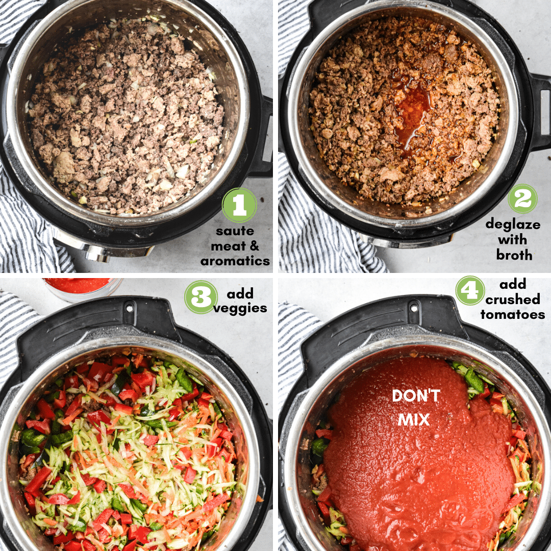 step by step process for sneaky veggie chili