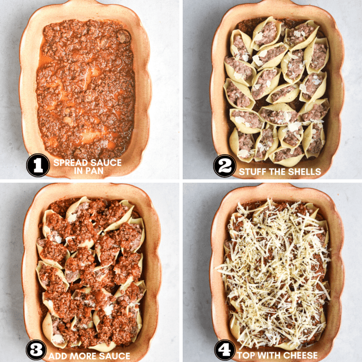 how to assemble beef stuffed shells