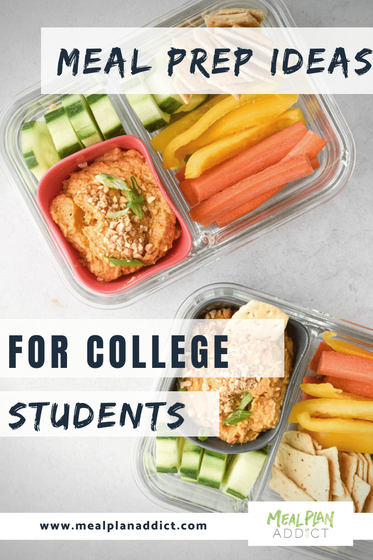 meal prep ideas for college students pinterest image showing hummus and veggie meal prep kits