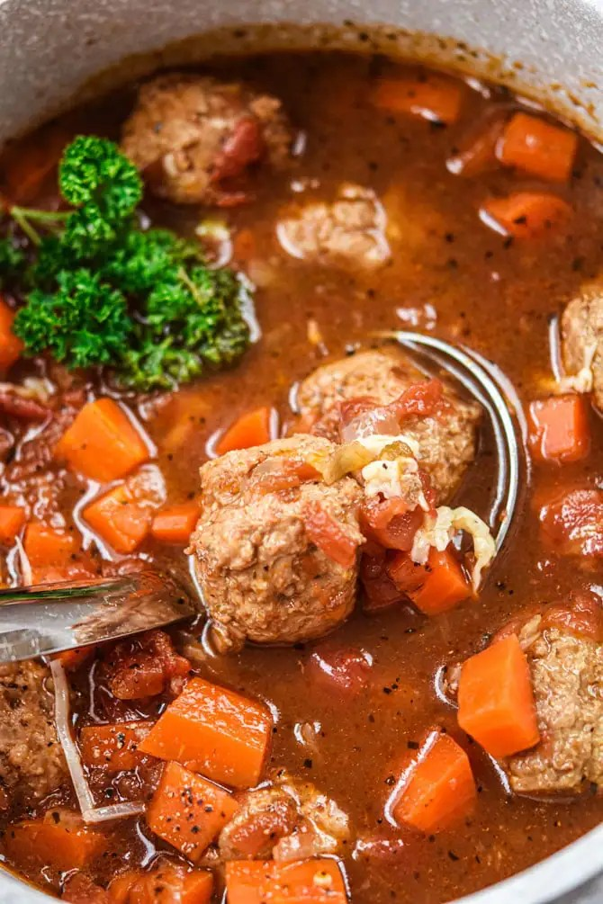 meatball soup close up with ladle