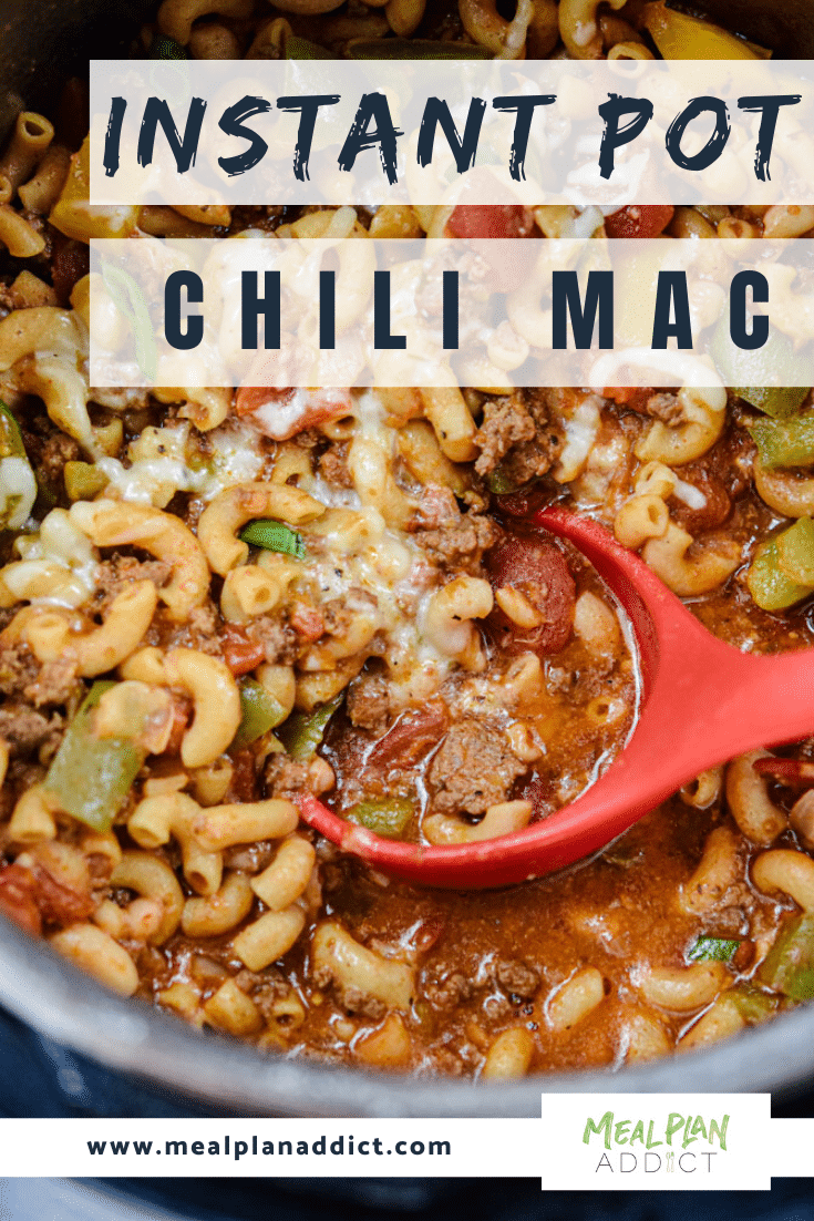 Instant Pot Chili Mac Pinterest Image close up in the pot