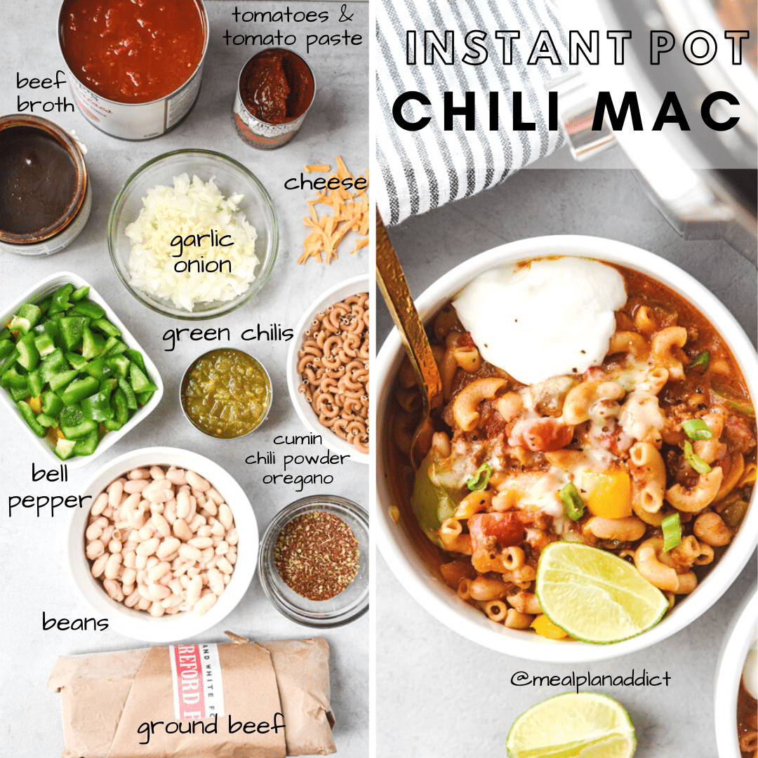 instant pot chili mac ingredients side by side