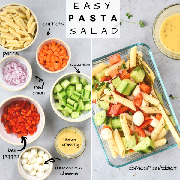 easy pasta salad side by side ingredients