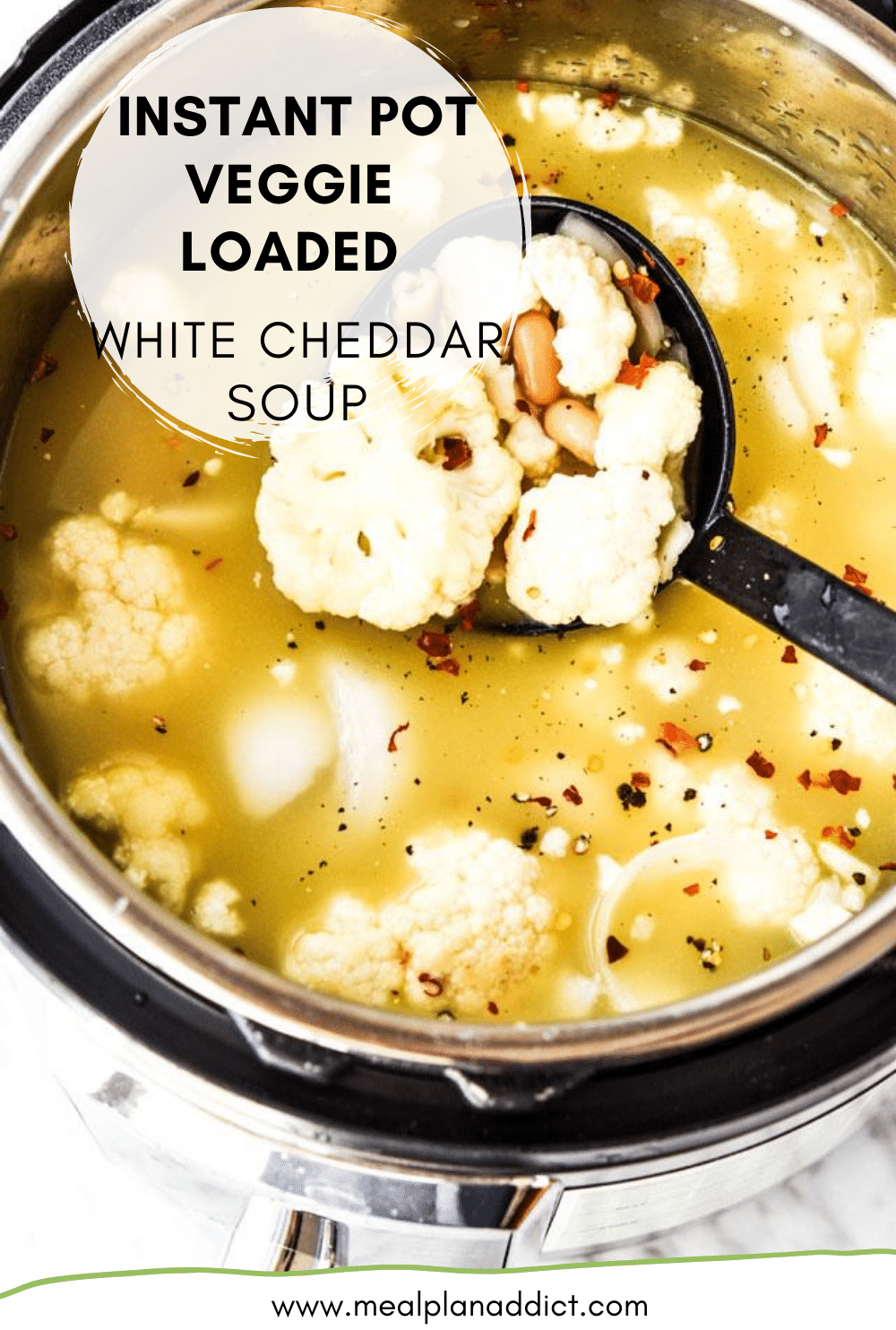 Instant Pot Veggie Loaded White Cheddar Soup