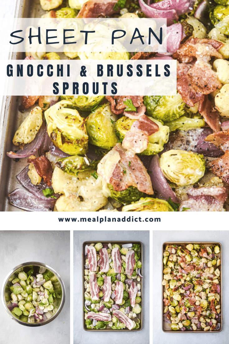 sheet pan gnocchi and brussels sprouts collage pin