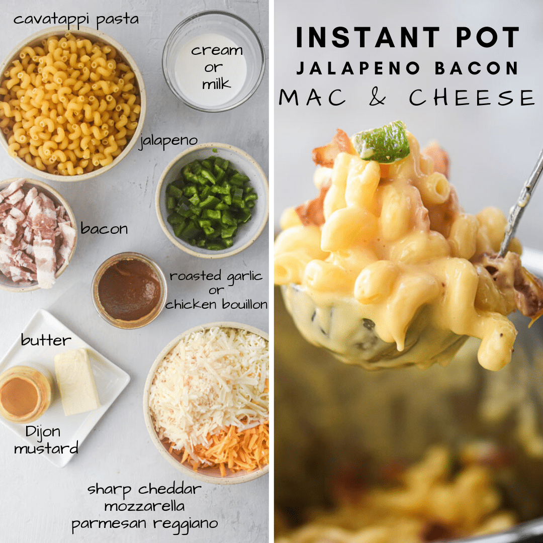 ingredients for instant pot jalapeno bacon mac and cheese