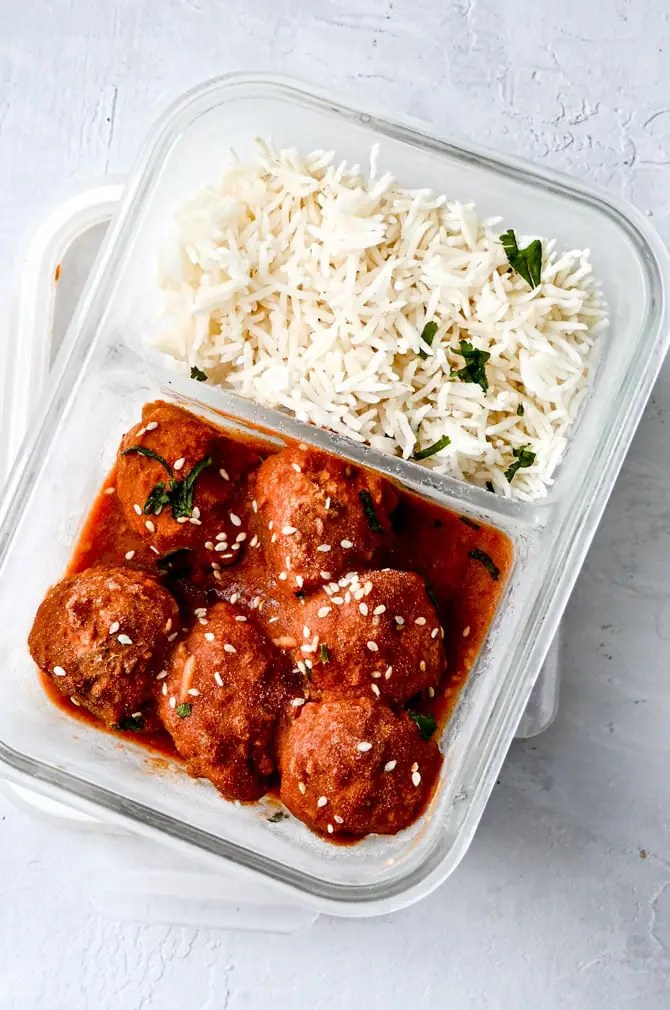 meatballs-and-rice-frozen-in-glass-container