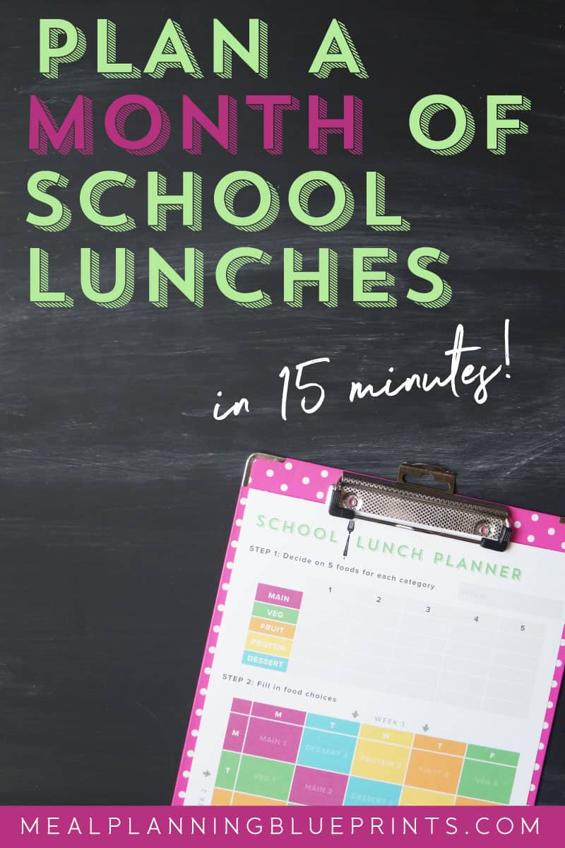 black background with pink clipboard with colorful School Lunch Planner