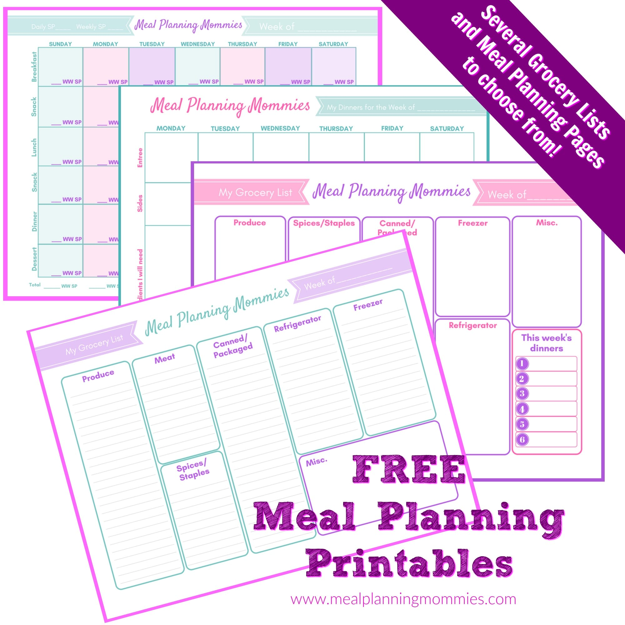 image relating to Weight Watchers Smart Points Tracker Printable known as Totally free Up-to-date Printable Evening meal Designing Web pages Grocery Lists