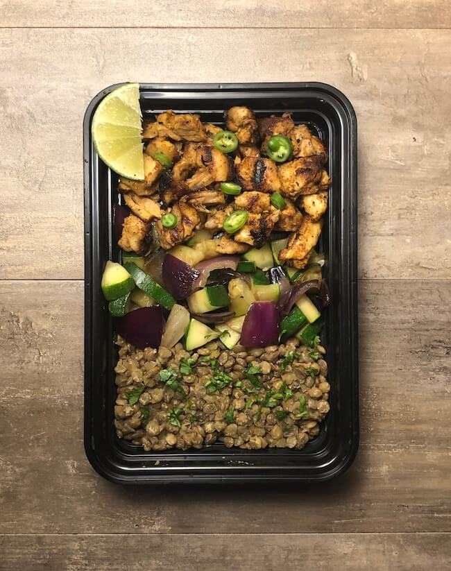Chili Lime Chicken with Vegetables and Lentils