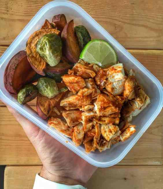 bbq chicken meal prep with brussels sprouts and sweet potato