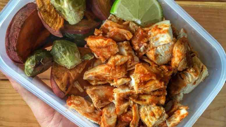 Bbq Chicken Meal Prep With Roasted Brussels Sprouts And Sweet Potato