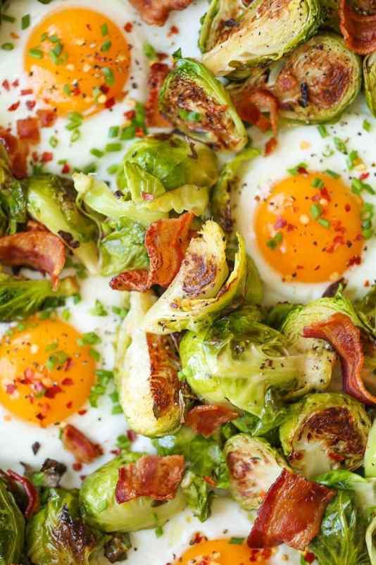 Brussels Sprouts, Eggs & BaconBreakfast