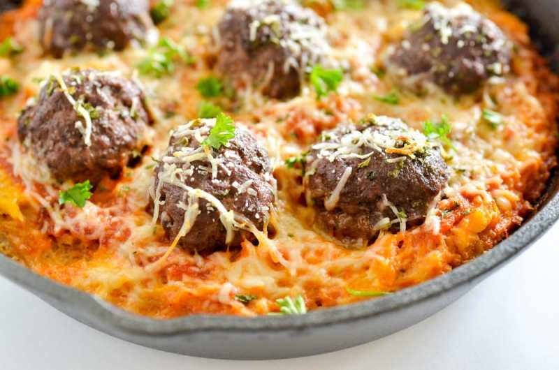 One Skillet Baked Spaghetti Squash & Meatballs 2