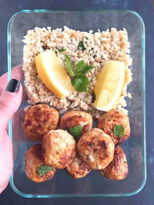 Carrot Meatballs With Mint Cauliflower Rice