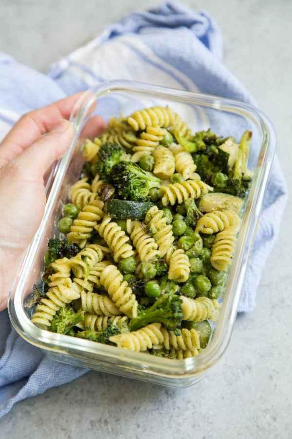 Vegan Arugula Pesto Pasta Meal Prep