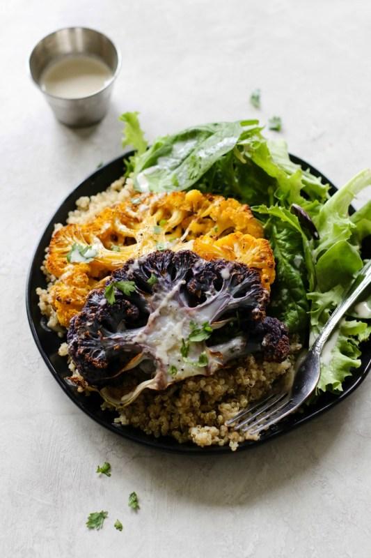 Cauliflower Steak With Quinoa & Tahini Meal Prep