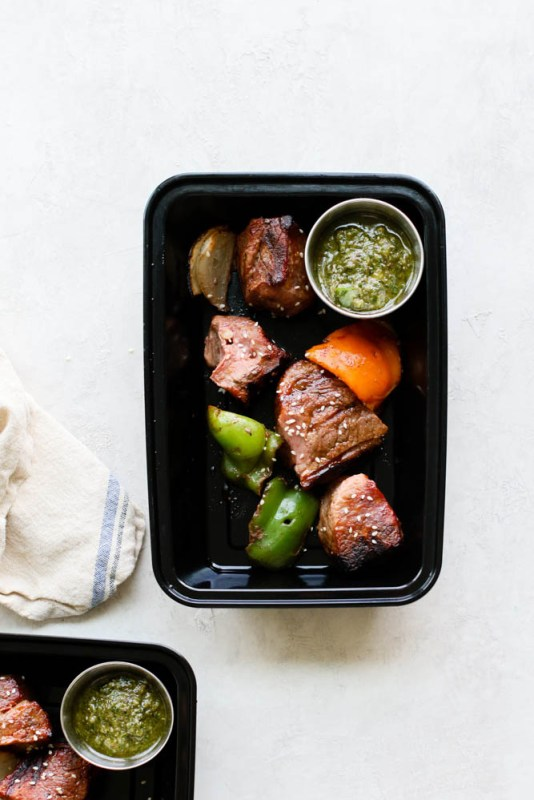 Keto Pesto Beef Kabob Meal Prep
