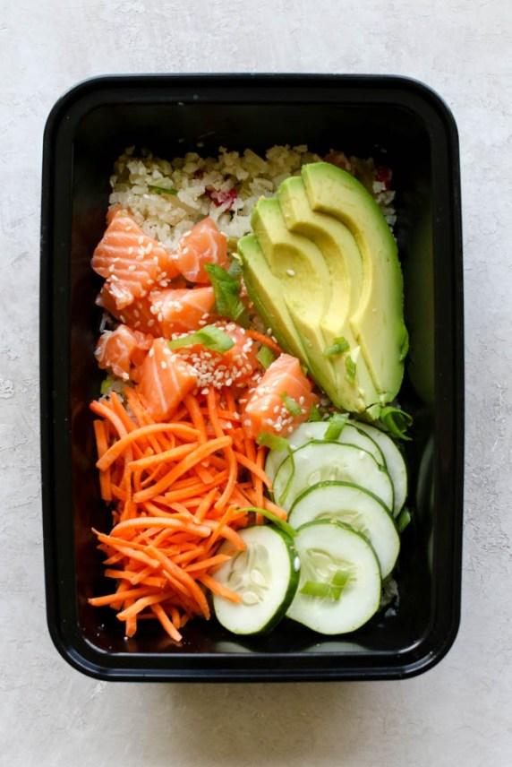 Cauliflower Rice Salmon Poke Bowl Meal Prep