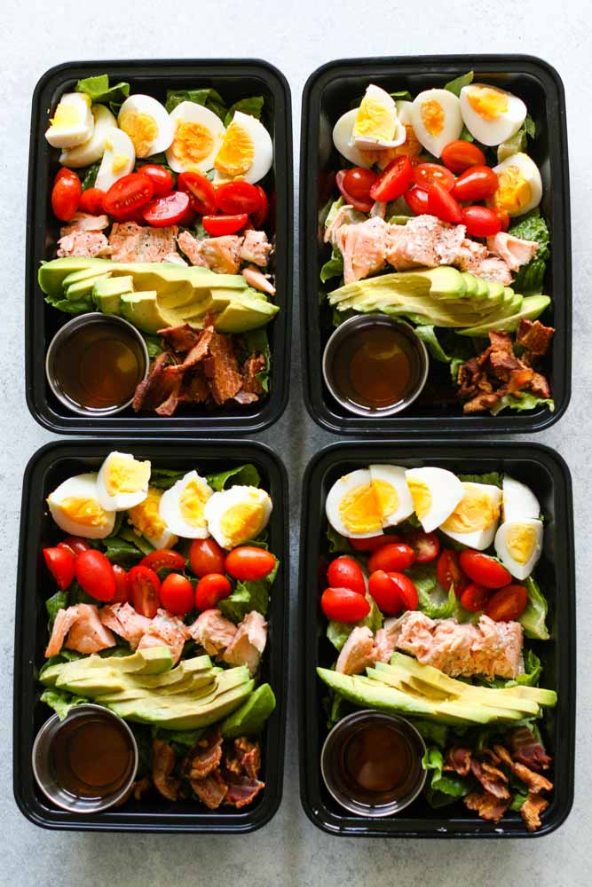 Salmon Cobb Salad Meal Prep