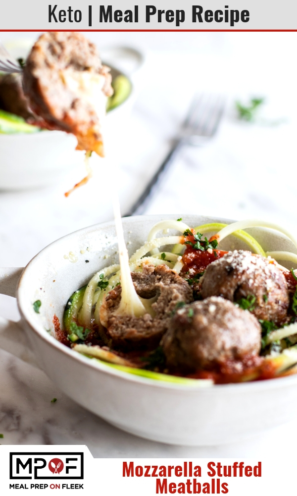 Keto Mozzarella Stuffed Meatball Meal Prep blog