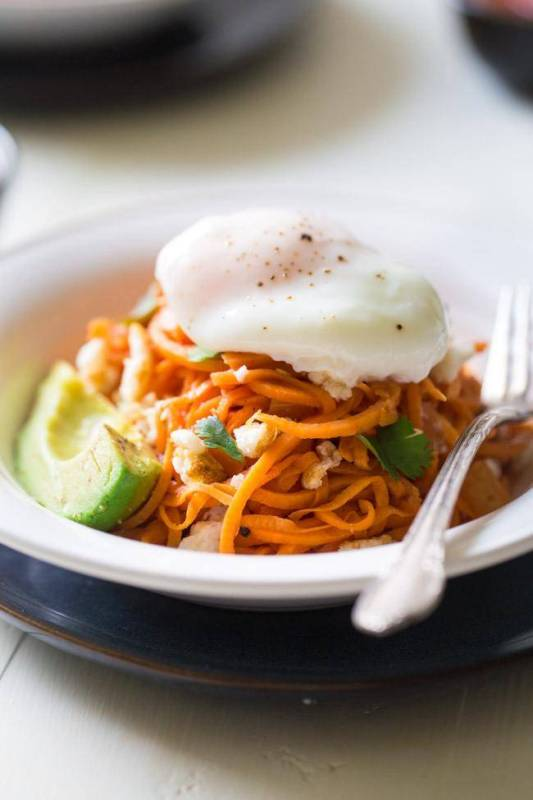 Sweet Potato Noodle Breakfast Burrito Bowl