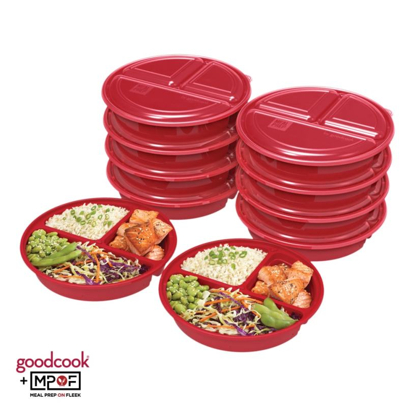 Round Meal Prep Container Red