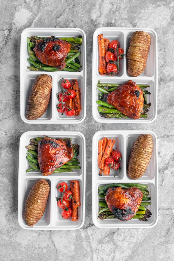 Oven Baked BBQ Chicken and Veggies Meal Prep
