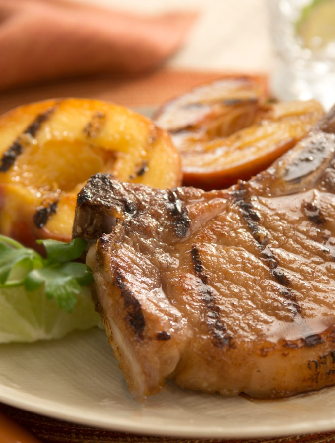 Honey Lime Pork Chops with Grilled Peaches