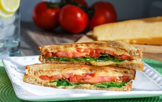Grilled Gouda with Tomato & Spinach