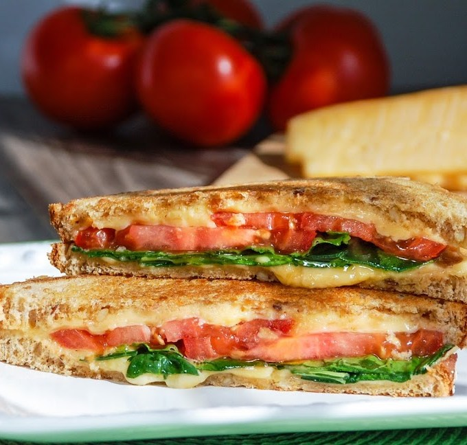 Grilled Gouda with Tomato and Spinach