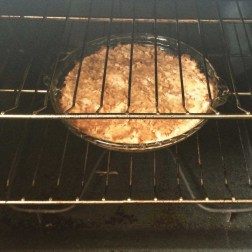 The apple cake is nearly done.