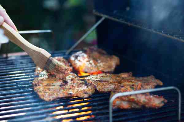 Steaks on a gas grill