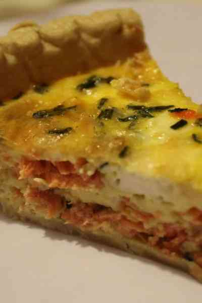 Salmon, Goat Cheese, and Chive Quiche