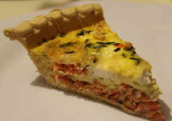 Salmon with Goat Cheese Quiche