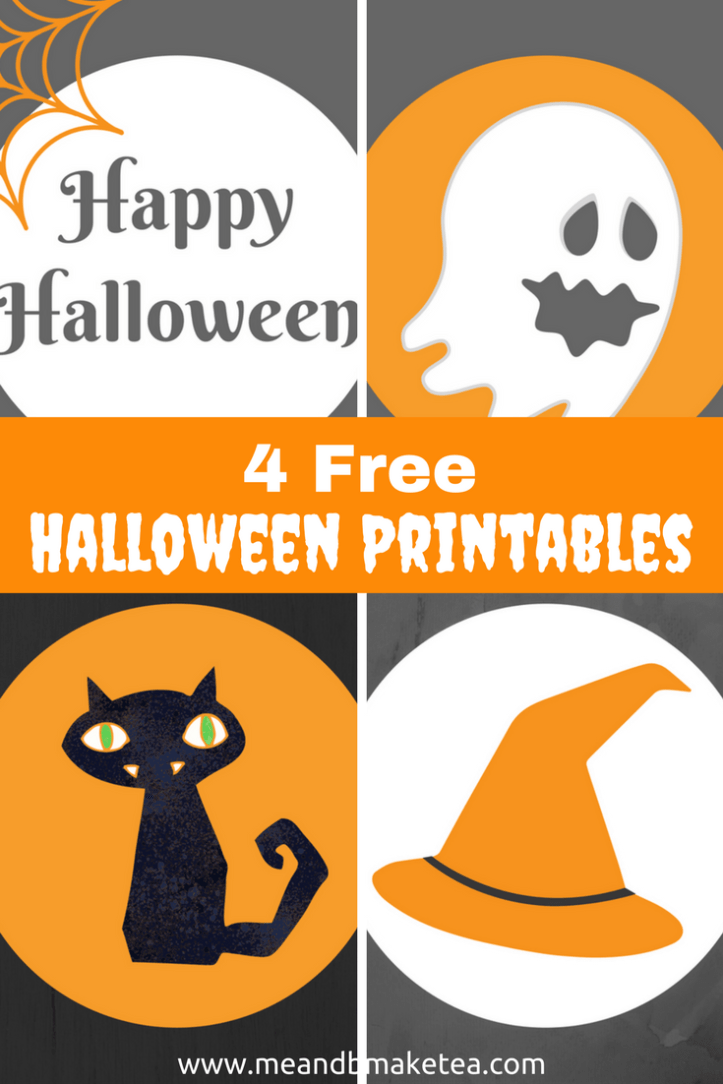 Free halloween printables including  ghosts cats witches hats and happy halloween signs!