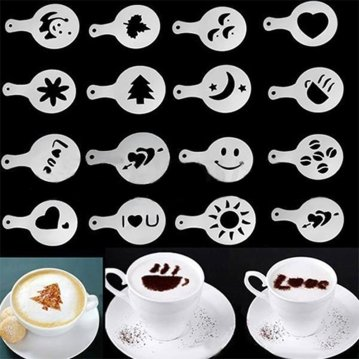 16pcs Cappuccino Coffee Stencils
