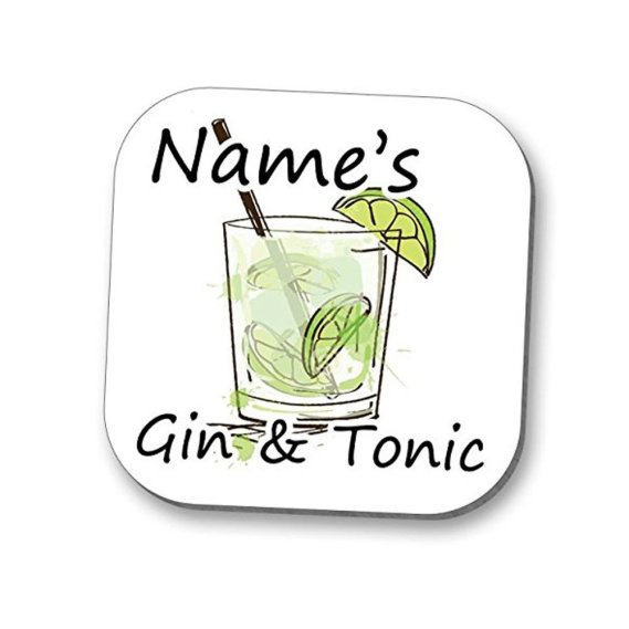 personalised gin and tonic coaster with name