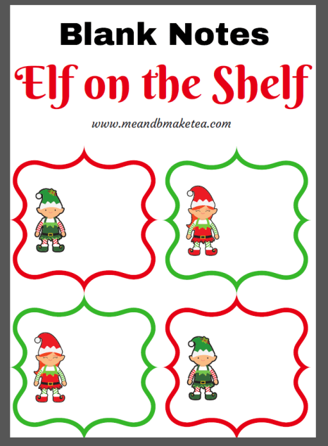blank elf on shelf printable cards