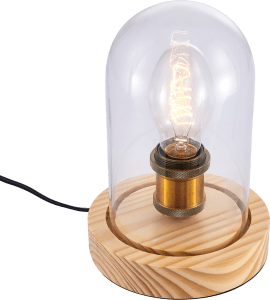 IMAGE CULT LIVING KNOX VINTAGE BELL JAR TABLE LAMP, NATURAL WOOD