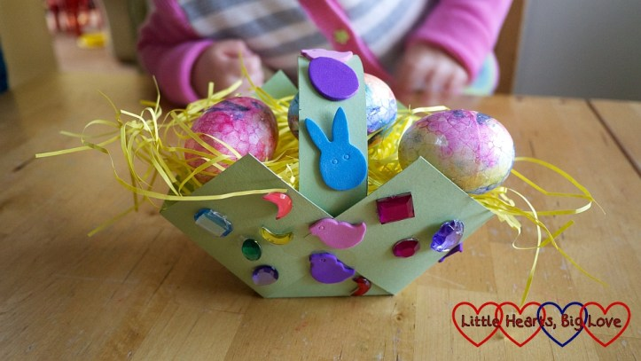 Spring Easter Craft Ideas For Kids Basket Using Paper Fabric Flowers