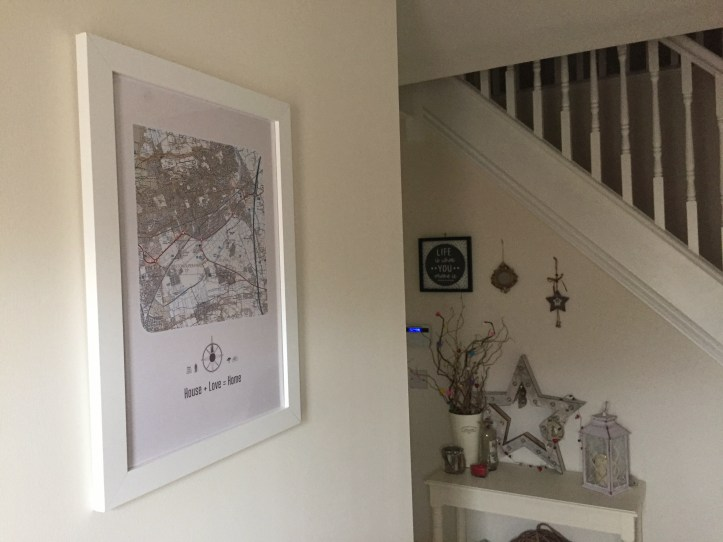 maps international postcode artwork for home using Ordnance survey map hallway