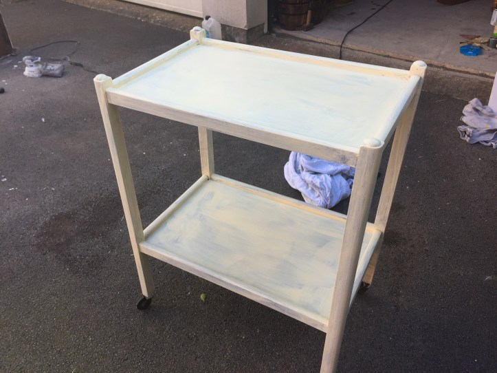 tea cart makeover and painting for bbq drinks station