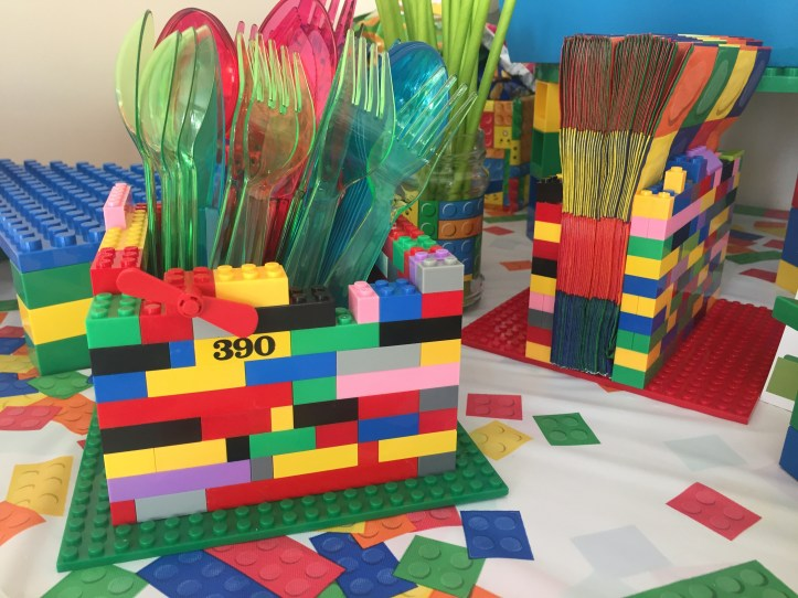 lego party decorations using lego for cutlery and napkin holders