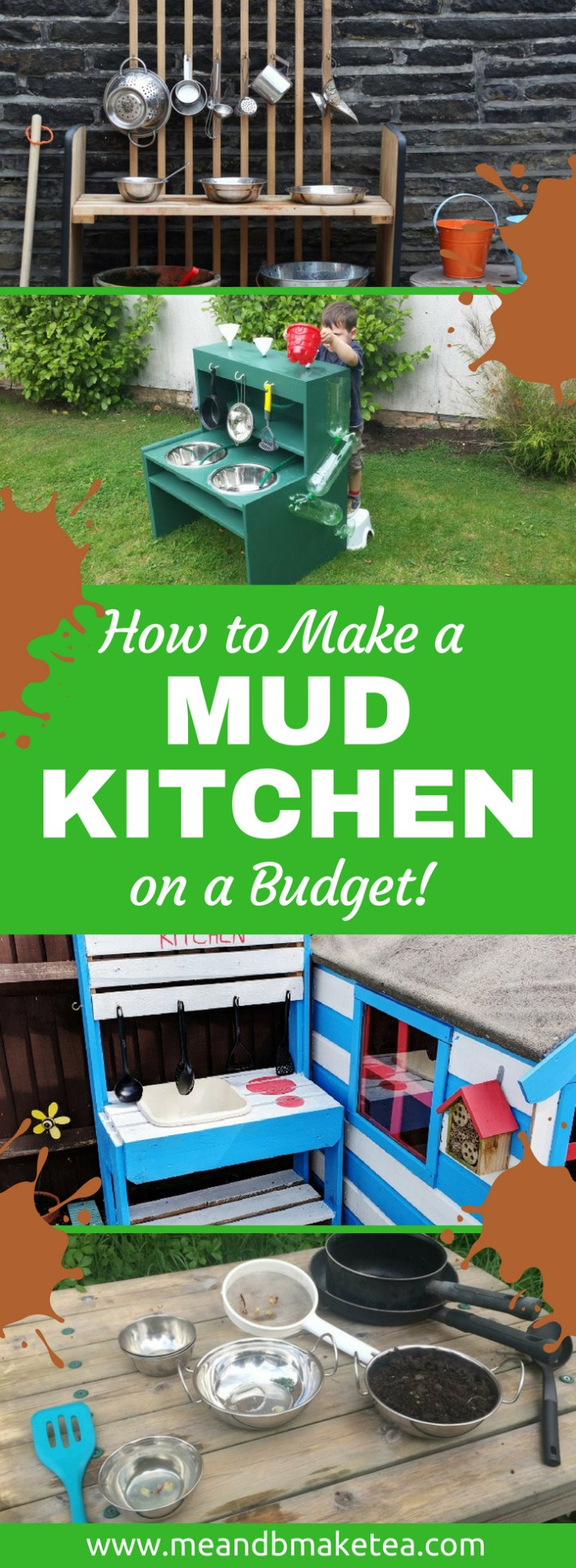 how to make a mud kitchen for summer outdoor play for kids on a budget | cheap ideas low cost for sensory play