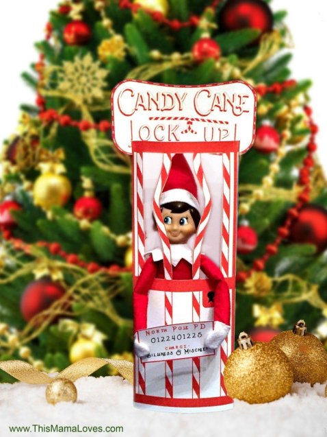 elf on the shelf ideas that are easy - elf candy cane jail